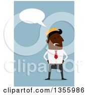 Clipart Of A Flat Design Black Businessman Wearing A Crown And Talking Over Blue Royalty Free Vector Illustration by Vector Tradition SM