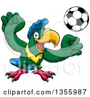 Clipart Of A Cartoon Parrot Mascot Playing Soccer Royalty Free Vector Illustration
