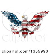 Clipart Of A Flying American Flag Patterned Bald Eagle Holding A Peace Olive Branch And War Arrows Royalty Free Vector Illustration by Vector Tradition SM