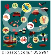 Clipart Of Sushi Caviar Crab Shrimp Lobsters Oysters Mussels Octopus Chopstick Salmon Steak Grilled Fish Shrimp Salad Fish Soup Vegetables And Herbs On Teal Royalty Free Vector Illustration by Vector Tradition SM