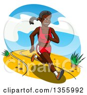 Clipart Of A Cartoon Healthy And Fit Black Woman Running Royalty Free Vector Illustration
