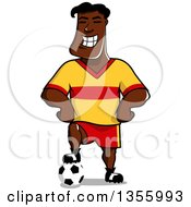 Clipart Of A Cartoon Grinning Black Male Soccer Player Royalty Free Vector Illustration