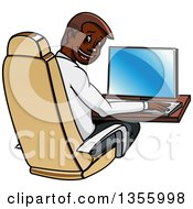 Clipart Of A Cartoon Black Businessman Working On A Computer Royalty Free Vector Illustration