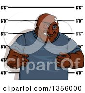 Clipart Of A Black Eyed Man Getting His Mugshot Taken Royalty Free Vector Illustration by Vector Tradition SM