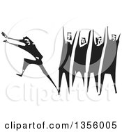 Clipart Of A Black And White Woodcut Man Running Away From A Group Royalty Free Vector Illustration