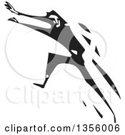 Clipart Of A Black And White Woodcut Man Running Away Royalty Free Vector Illustration