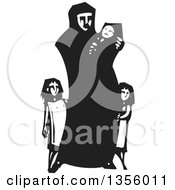 Clipart Of A Black And White Woodcut Islamic Refugee Mother With Her Children Royalty Free Vector Illustration