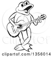 Clipart Of A Cartoon Black And White Frog Playing A Guitar Royalty Free Vector Illustration