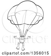 Clipart Of A Cartoon Black And White Frog Parachuting Royalty Free Vector Illustration