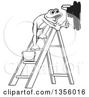 Clipart Of A Cartoon Black And White Frog On A Ladder Painting A Wall Royalty Free Vector Illustration by Lal Perera