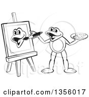 Clipart Of A Cartoon Black And White Frog Artist Painting Royalty Free Vector Illustration by Lal Perera