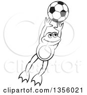 Clipart Of A Cartoon Black And White Frog Leaping For A Soccer Ball Royalty Free Vector Illustration by Lal Perera