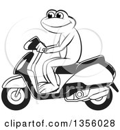 Clipart Of A Cartoon Black And White Frog Riding A Scooter Royalty Free Vector Illustration by Lal Perera
