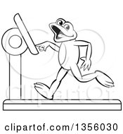 Clipart Of A Cartoon Black And White Frog Running On A Treadmill Royalty Free Vector Illustration by Lal Perera