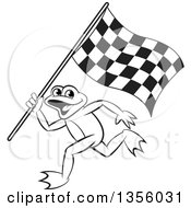 Clipart Of A Cartoon Black And White Frog Running With A Checkered Race Flag Royalty Free Vector Illustration by Lal Perera