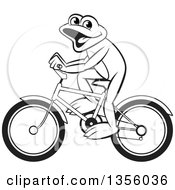 Clipart Of A Cartoon Black And White Frog Riding A Bicycle Royalty Free Vector Illustration by Lal Perera