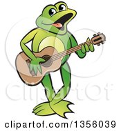 Clipart Of A Cartoon Green Frog Playing A Guitar Royalty Free Vector Illustration by Lal Perera