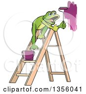 Clipart Of A Cartoon Green Frog On A Ladder Painting A Wall Royalty Free Vector Illustration by Lal Perera
