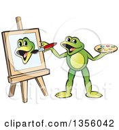 Clipart Of A Cartoon Green Frog Artist Painting Royalty Free Vector Illustration by Lal Perera
