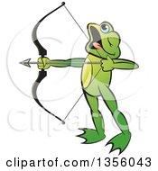 Clipart Of A Cartoon Green Frog Archer Aiming An Arrow Royalty Free Vector Illustration