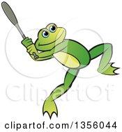 Clipart Of A Cartoon Green Frog Swinging A Baseball Bat Royalty Free Vector Illustration