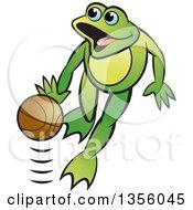 Clipart Of A Cartoon Green Frog Dribbling A Basketball Royalty Free Vector Illustration