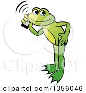 Cartoon Green Frog Talking On A Smart Phone