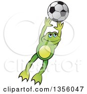 Clipart Of A Cartoon Green Frog Leaping For A Soccer Ball Royalty Free Vector Illustration by Lal Perera