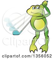 Clipart Of A Cartoon Green Frog Playing Golf Royalty Free Vector Illustration