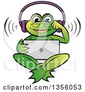 Clipart Of A Cartoon Green Frog Wearing Headphones And Watching Something On A Laptop Computer Royalty Free Vector Illustration by Lal Perera