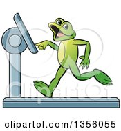 Clipart Of A Cartoon Green Frog Running On A Treadmill Royalty Free Vector Illustration by Lal Perera