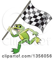 Clipart Of A Cartoon Green Frog Running With A Checkered Race Flag Royalty Free Vector Illustration by Lal Perera