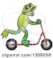 Clipart Of A Cartoon Green Frog On A Toy Scooter Royalty Free Vector Illustration by Lal Perera