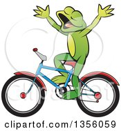 Clipart Of A Cartoon Green Frog Riding A Bicycle Without Hands Royalty Free Vector Illustration by Lal Perera