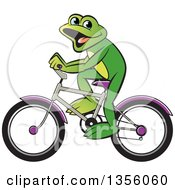 Clipart Of A Cartoon Green Frog Riding A Bicycle Royalty Free Vector Illustration by Lal Perera