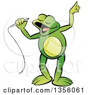 Clipart Of A Cartoon Green Frog Singing Royalty Free Vector Illustration by Lal Perera
