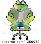 Clipart Of A Cartoon Green Frog Sitting In A Chair And Reading A Book Royalty Free Vector Illustration by Lal Perera