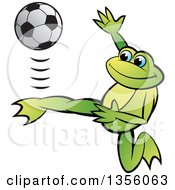 Clipart Of A Cartoon Green Frog Kicking A Soccer Ball Royalty Free Vector Illustration by Lal Perera