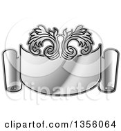 Clipart Of A Gradient Silver Ribbon Banner Scroll Royalty Free Vector Illustration