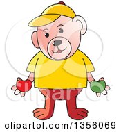 Clipart Of A Cartoon Casual Teddy Bear Holding Red And Green Apples Royalty Free Vector Illustration by Lal Perera