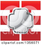 Clipart Of A Shiny Silver Cross Over A Red Mirrored Abstract Letter E Design Royalty Free Vector Illustration
