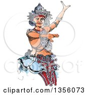 Clipart Of A Hand Drawn Kandyan Dancer Royalty Free Vector Illustration