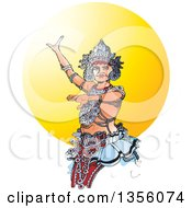 Clipart Of A Kandyan Dancer Against The Sun Royalty Free Vector Illustration