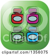Clipart Of A Green Square Ink Bottle Icon With Rounded Corners Royalty Free Vector Illustration