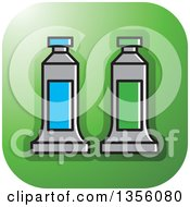 Clipart Of A Green Square Paint Tubes Art Icon With Rounded Corners Royalty Free Vector Illustration