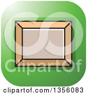 Clipart Of A Green Square Picture Frame Art Icon With Rounded Corners Royalty Free Vector Illustration