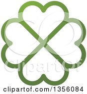 Clipart Of A Flower Made Of Green Heart Shaped Petals Royalty Free Vector Illustration