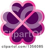 Clipart Of A Flower Made Of Gradient Pink And Purple Heart Shaped Petals Royalty Free Vector Illustration
