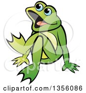 Clipart Of A Cartoon Green Frog Sitting On The Ground Royalty Free Vector Illustration by Lal Perera