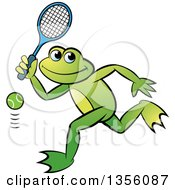 Clipart Of A Cartoon Green Frog Playing Tennis Royalty Free Vector Illustration by Lal Perera